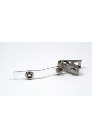 Portagafete broche metálico con vinil transparente (caiman)