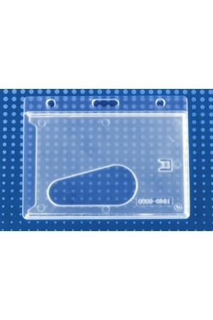 Portagafete horizontal rígido transparente