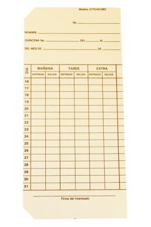 Tarjeta checadora mensual para reloj ATR240